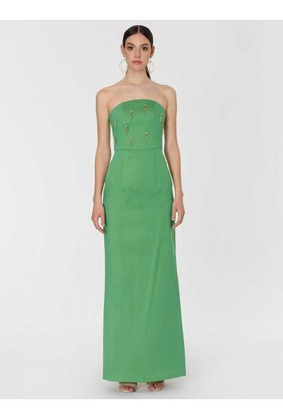 Roman Kadın Boncuk İşlemeli Yeşil Straplez Abiye Elbise-Y1911340-089