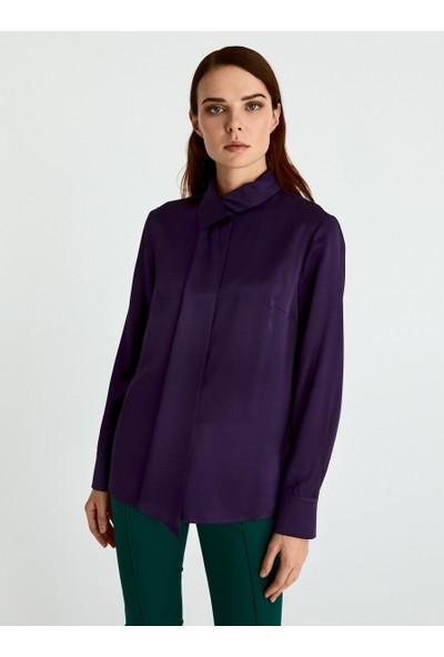 Roman Kadın Boyun Detaylı Mor Bluz-K2013076-018