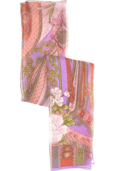 Roman Kadın Çiçek Desenli Mor Şal-Y1984101-018