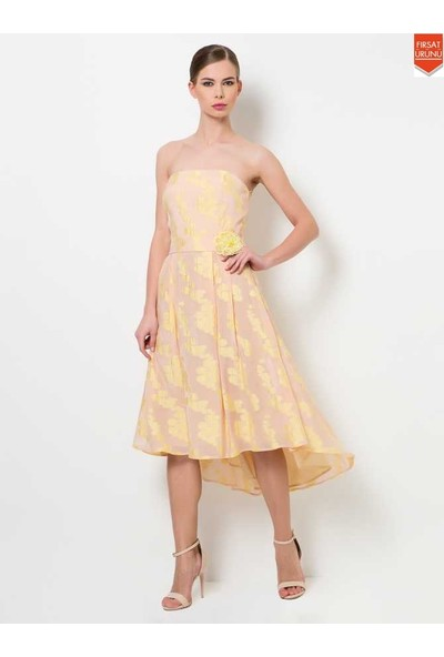 Roman Kadın Çiçek Desenli Straplez Sarı Abiye Elbise