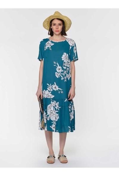 Roman Kadın Çiçek Desenli Yeşil Elbise-Y1911093-012