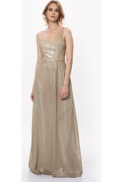 Roman Kadın Çiçek Detaylı Gold Elbise