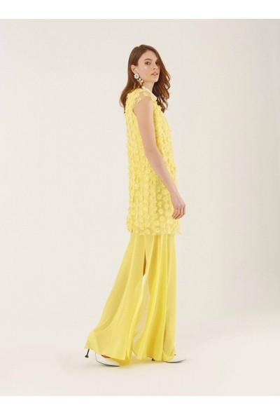Roman Kadın Çiçek Detaylı Sarı Elbise-Y9911013-009