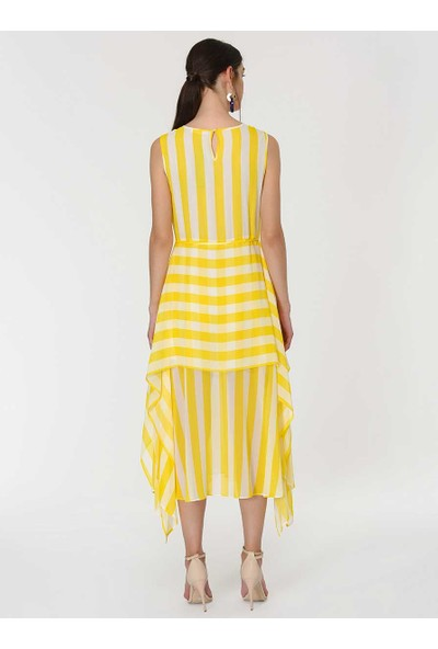 Roman Kadın Çizgili Sarı Elbise