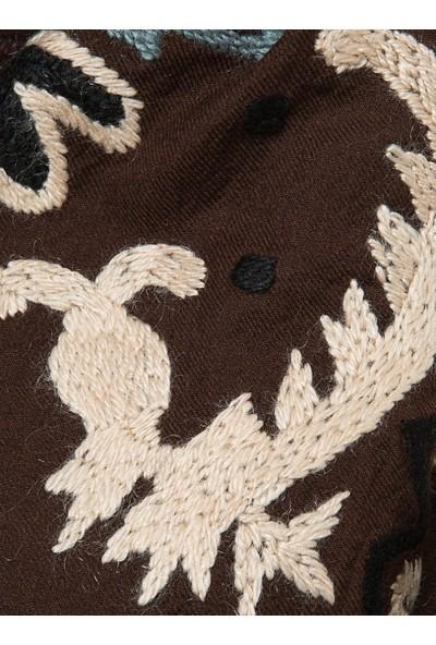 Roman Kadın Desenli Kahverengi Şal-K1784306-089