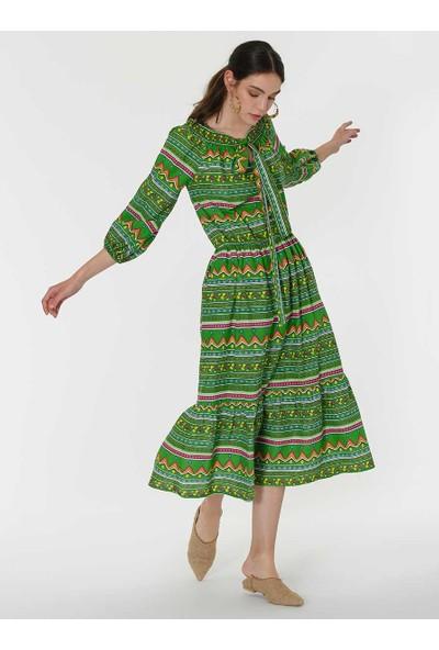 Roman Kadın Desenli Yeşil Elbise-Y1967116-089