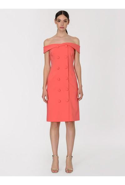 Roman Kadın Düğme Detaylı Straplez Coral Elbise-Y1911063-122