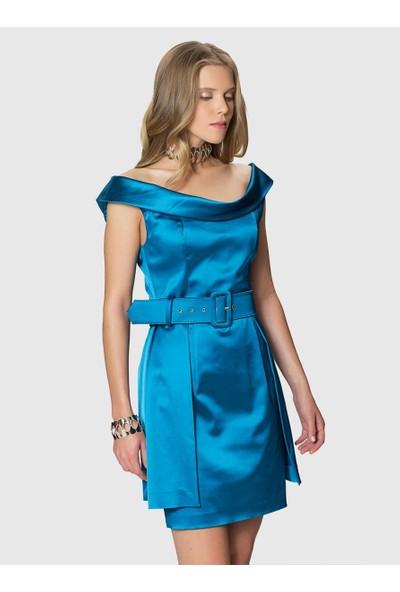Roman Kadın Düşük Yaka Kemer Detaylı Mavi Abiye Elbise-K1811061-291