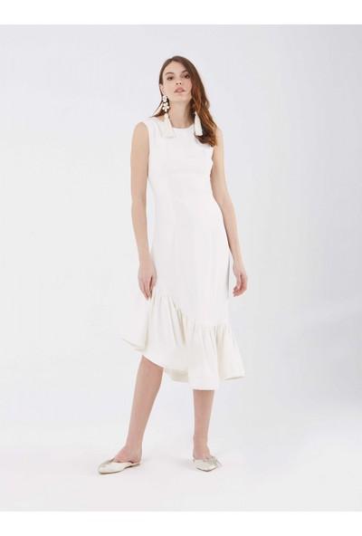 Roman Kadın Etek Ucu Detaylı Krem Elbise