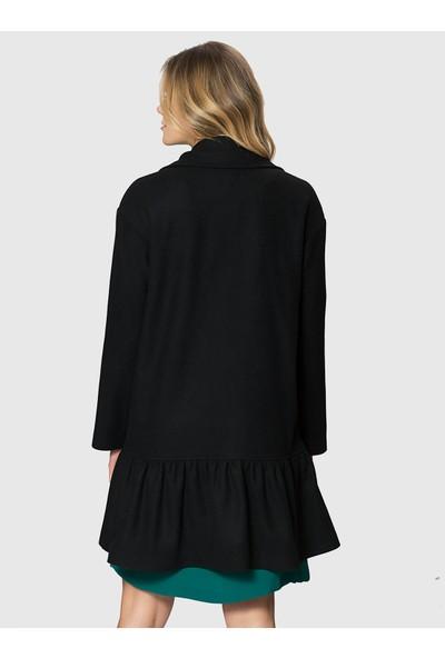 Roman Kadın Etek Ucu Detaylı Siyah Kaban-MDKBN104-001