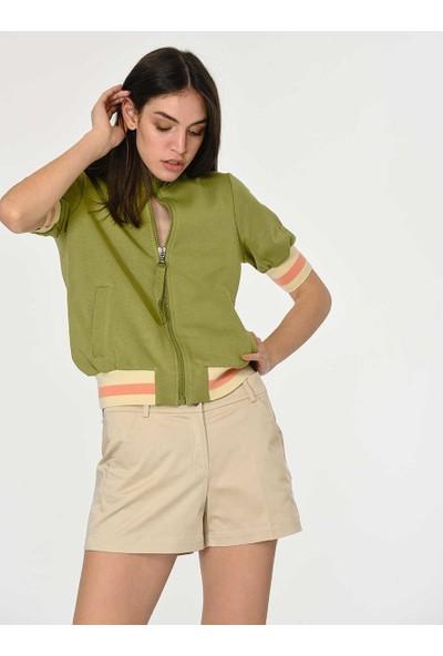 Roman Kadın Fermuarlı Yeşil Sweatshirt-Y1954122-012