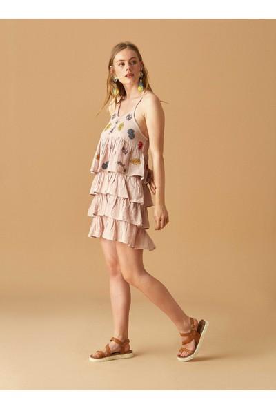 Roman Kadın Fırfırlı Pembe Elbise-Y1861106-038