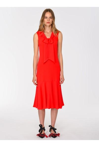 Roman Kadın Fiyonk Detaylı Mercan Elbise-Y1911097-030