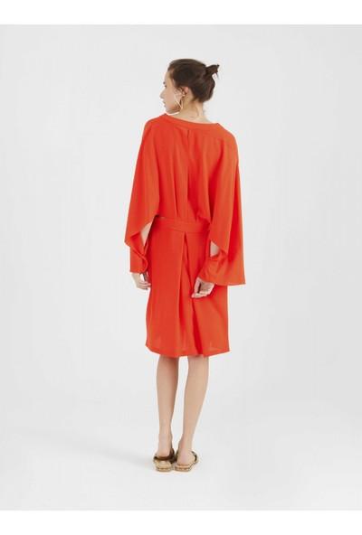 Roman Kadın Geniş Kollu Nar Çiçeği Elbise-Y9911019-112