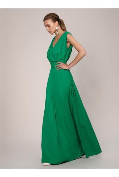 Roman Kadın Göğüs Detaylı Yeşil Abiye Elbise-K1911306-012