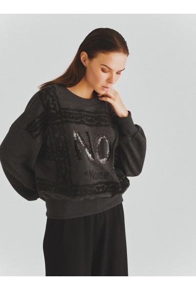 Roman Kadın İşlemeli Antrasit Sweatshirt-K2054164-046