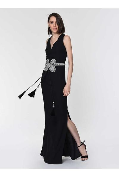 Roman Kadın Kelebek Motifli Siyah Elbise-Y1911306-001