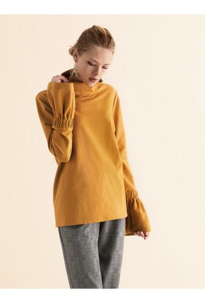 Roman Kadın Kol Detaylı Hardal Sweatshirt-K1954134-481