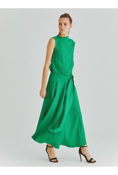 Roman Kadın Kuşak Detaylı Yeşil Elbise-K2011044-012