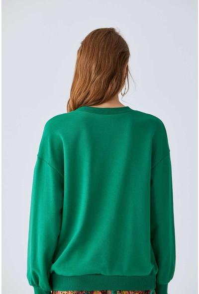 Roman Kadın Kuşaklı Yeşil Sweatshirt-K2054116-012