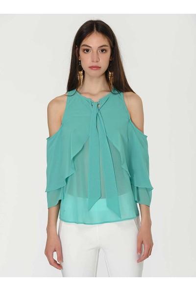 Roman Kadın Off Shoulder Cam Göbeği Bluz-Y1913081-113