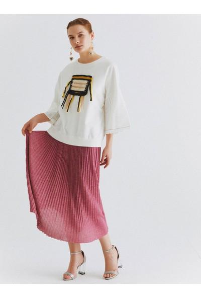 Roman Kadın Örgü Detaylı Ekru Sweatshirt-K2054127-049