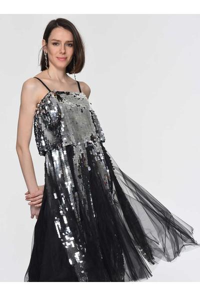 Roman Kadın Payet İşlemeli Gümüş Abiye Elbise-Y1911337-078