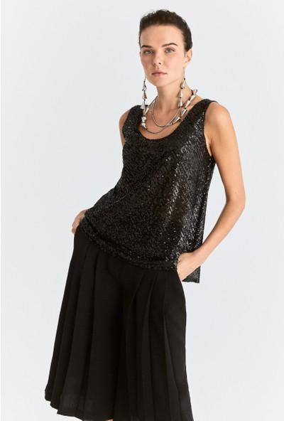 Roman Kadın Payetli Askılı Siyah Bluz-K2013113-001