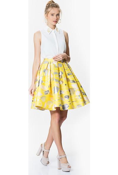 Roman Kadın Pileli Sarı Etek-Y1715072-009