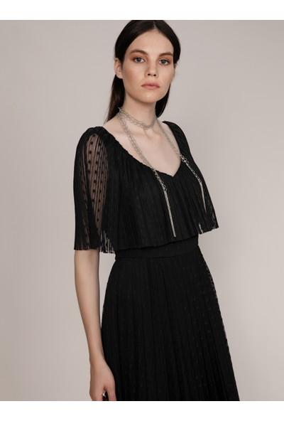 Roman Kadın Puantiye Detaylı Abiye Elbise-K1911528-001