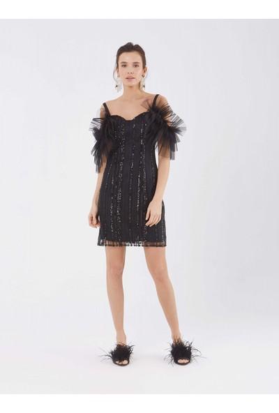 Roman Kadın Pul Ve Tül Detaylı Siyah Abiye Elbise
