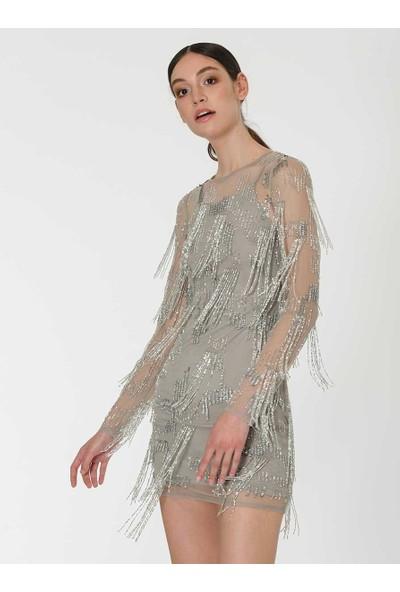 Roman Kadın Püskül Detaylı Gümüş Mini Abiye Elbise-Y1962105-089