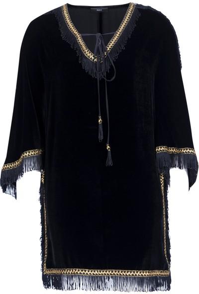 Roman Kadın Püsküllü Siyah Abiye Elbise-K1711151-001