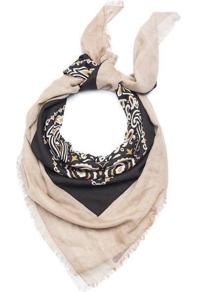 Roman Kadın Renkli Otantik Desenli Siyah Beyaz İpek Şal-Y1784210-089