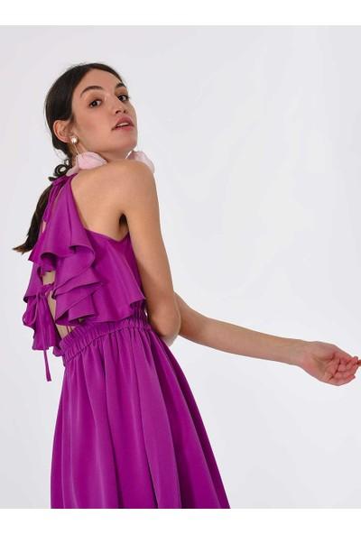 Roman Kadın Sırt Detaylı Mürdüm Elbise