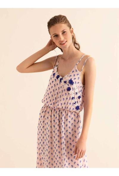Roman Kadın Sırt Detaylı Pembe Elbise-Y9911017-038