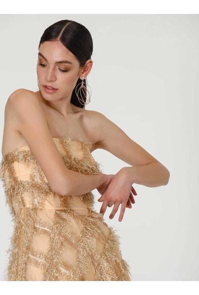 Roman Kadın Straplez Gold Abiye Elbise