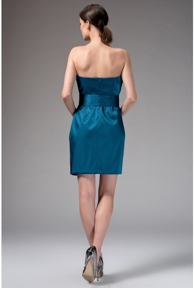 Roman Kadın Straplez Turkuaz Mavi Abiye Elbise-K1321043-291
