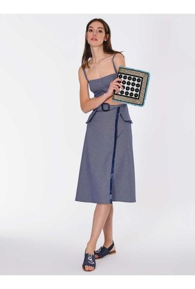 Roman Kadın Şerit Detaylı Askılı Elbise