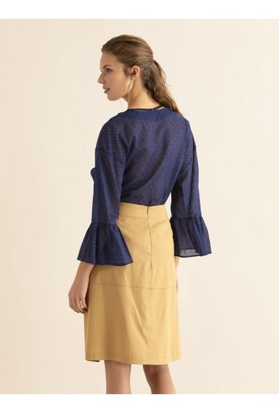 Roman Kadın Şerit Detaylı Bej Etek-Y1815062-024