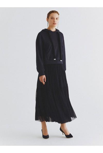 Roman Kadın Taş Detaylı Lacivert Sweatshirt-K2054137-015