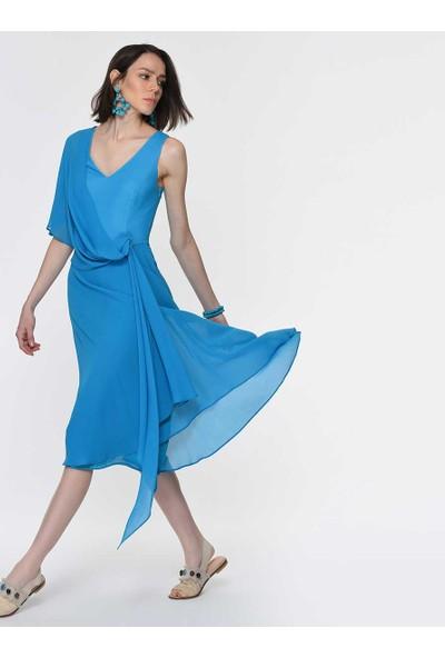 Roman Kadın Tül Detaylı Mavi Abiye Elbise-Y1911325-029