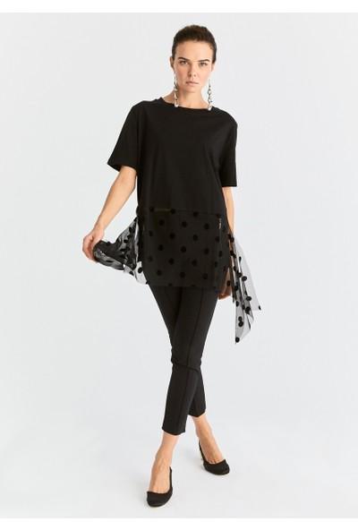 Roman Kadın Tül Detaylı Siyah Sweatshirt-K2054133-001