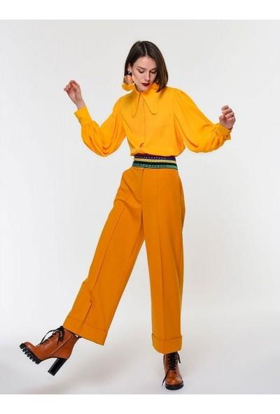 Roman Kadın Yaka Detaylı Sarı Gömlek-K1913525-009