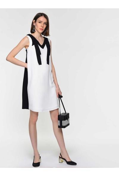 Roman Kadın Yaka Detaylı Siyah Beyaz Elbise-Y1911509-101