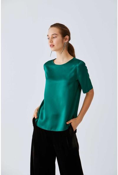 Roman Kadın Yeşil İpek Bluz-K2013098-012