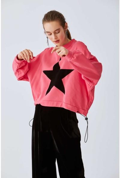 Roman Kadın Yıldız Desenli Pembe Sweatshirt-K2054152-038