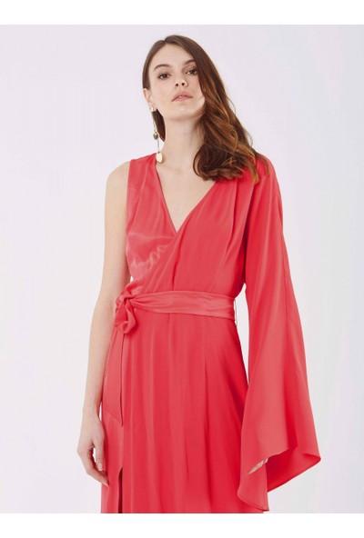 Roman Kadın Yırtmaç Detaylı Fuşya Elbise-Y9911313-003