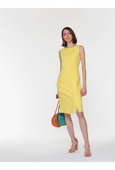 Roman Kadın Yırtmaç Detaylı Sarı Elbise-Y1911037-009