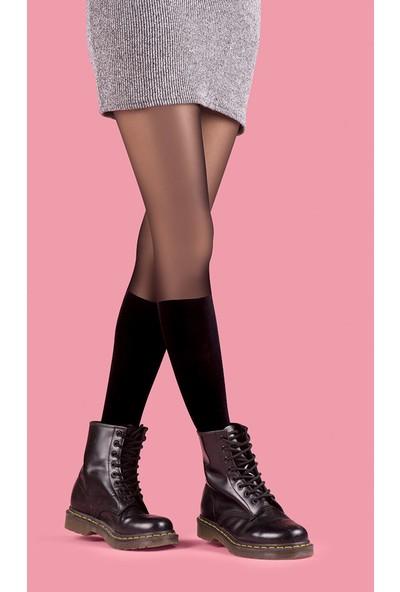 Roman Kadın Siyah Kulotlu Bot Çorabı